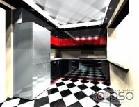 Кухня глянец в черно-красных тонах - Кухонный гарнитур угловой 1900х2200х2150мм Фасады из высокоглянцевого МДФ