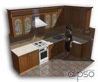 Кухня угловая классическая - Кухня угловая в классическом стиле. Цвет: Ольха-Патина. Габарит 3050х1500х2150мм.