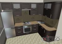 Кухонный гарнитур с фасадами из массива дерева в стиле Модерн - Гарнитур с фасадами из массива натурального дерева в стиле Модерн. Габарит 2900х1800х2300.