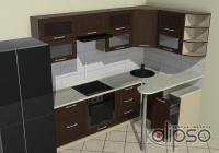 Угловая кухня с мини-баром - Угловая кухня 2500х1500 с небольшой барной стойкой. Фасады из массива бука в стиле