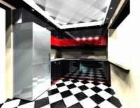 Кухня глянец в черно-красных тонах